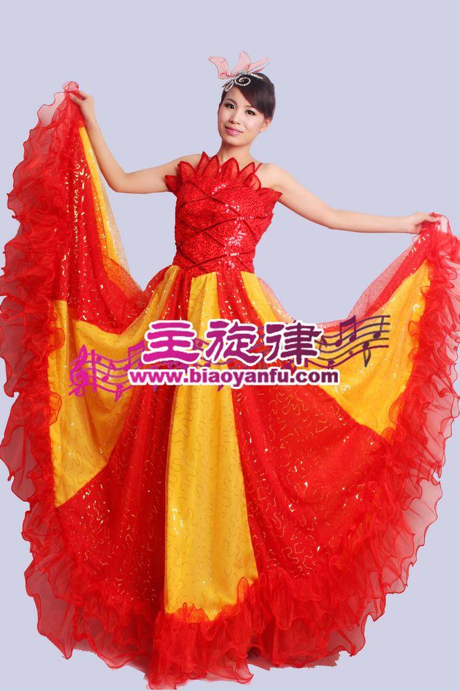 D-013大摆裙红亮片