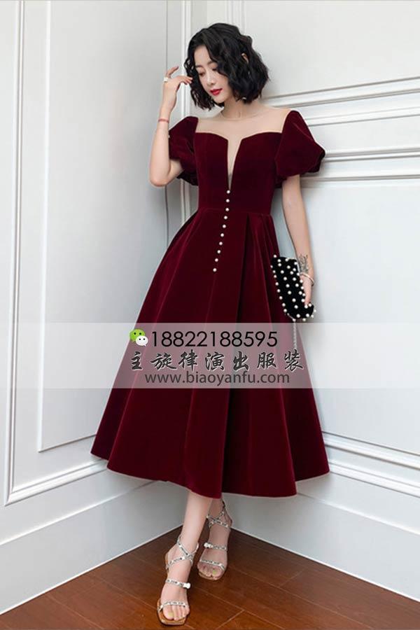 短礼服196酒红丝绒