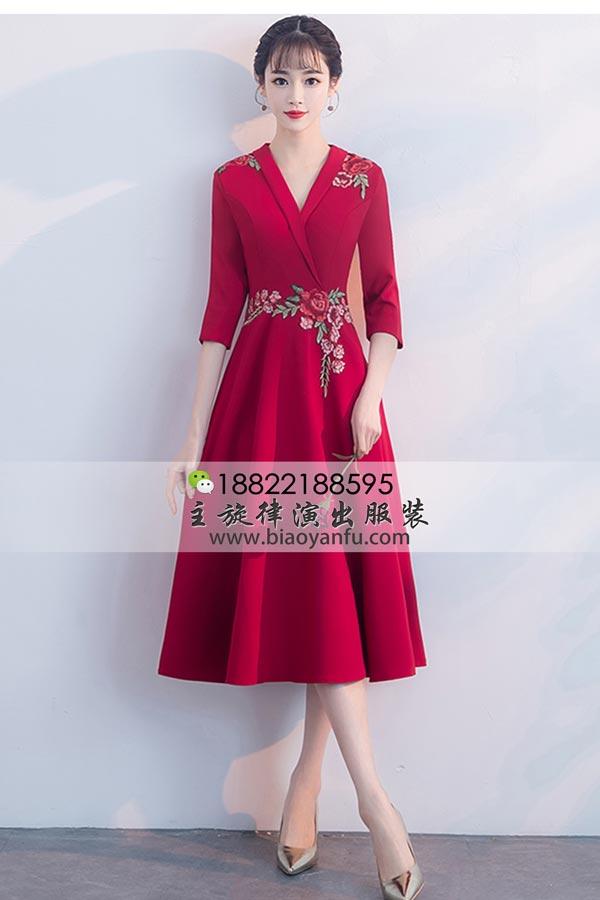 短礼服202中长款红交领